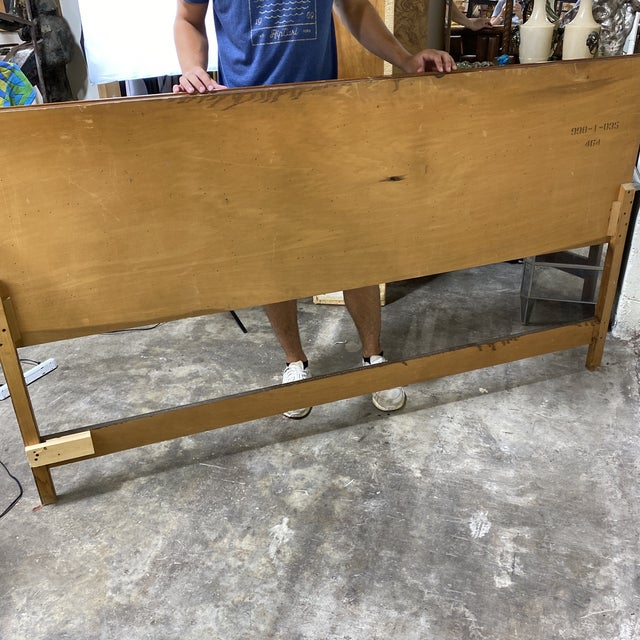 Brown Mid Century Walnut Brutalist Style King Head Board For Sale - Image 8 of 12