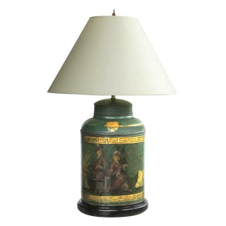 A well-executed and large-scaled English antique Bartlett & Son Japanned tole tea canister now mounted as a lamp