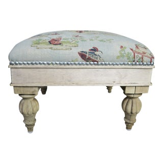 Chinoiserie Linen Upholstered Bench C. 1940's For Sale