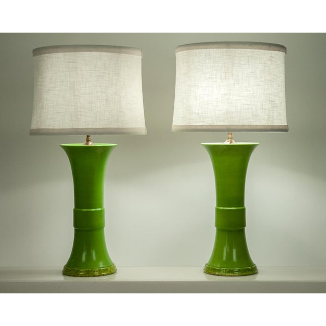Ceramic Pair of Green Porcelain Task Lamps For Sale - Image 7 of 10