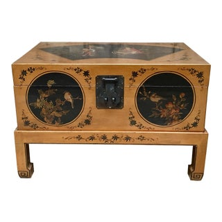 Antique Chinese Gold Painted Leather Chest on Stand For Sale