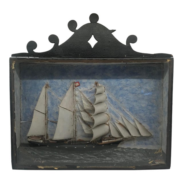 Early 19th Century Diorama Shadow Box of Sailing Vessel For Sale