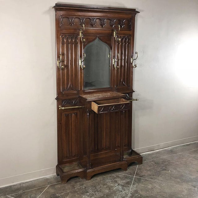 Gold 19th Century French Walnut Gothic Hall Tree For Sale - Image 8 of 12