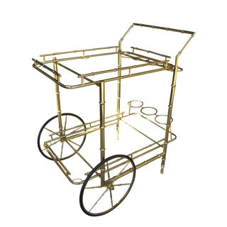 20th Century Hollywood Regency Brass Faux Bamboo Bar Cart For Sale