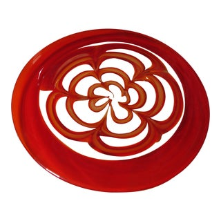 "15"" Barovier & Toso Red Swirl Spider Web Blown Art Glass Dish Plate For Sale"