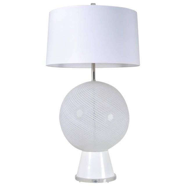 Large Murano Latticino Sphere Lamp For Sale