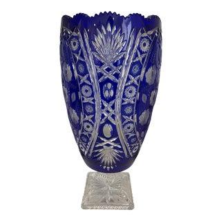 Mid 20th Century Vintage Cobalt Blue Large Crystal Vase For Sale