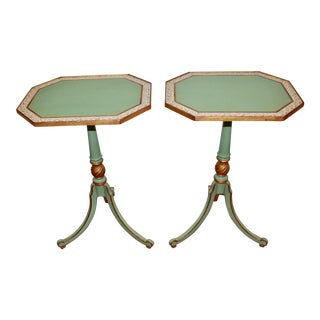 Traditional Italian Style Green Wooden Side Tables - a Pair For Sale