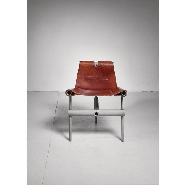 Mid-Century Modern Max Gottschalk prototype leather sling chair, USA, 1960s For Sale - Image 3 of 6