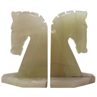 Antique Art Deco Italian Onyx Trojan Horse Head Bookends Pair