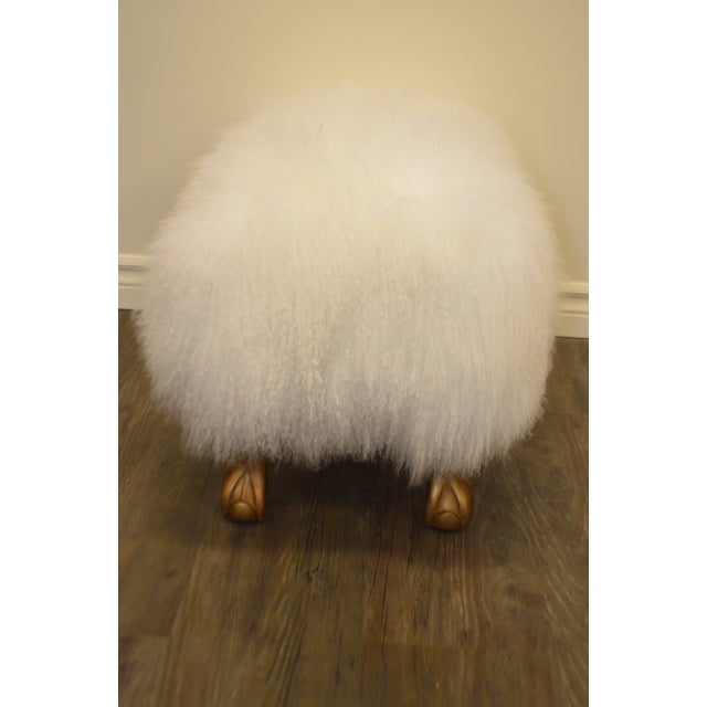 Ottoman Upholstered in a Curly White Lambs Wool Skin With Gilded Legs For Sale - Image 4 of 10