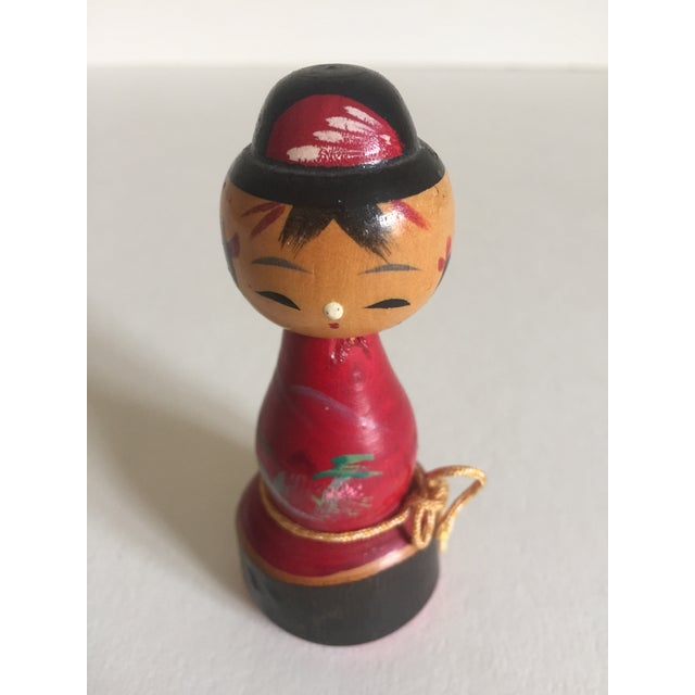 Vintage Mid-Century Japanese Wooden Kokeshi Dolls - Set of 3 - Image 4 of 9