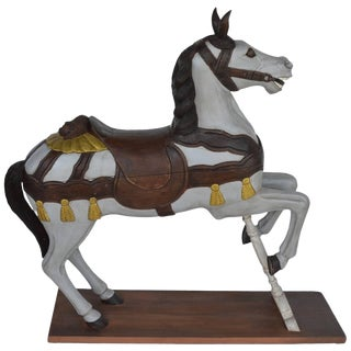 Painted Wooden Carousel Horse For Sale