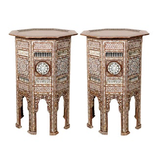 19th C. Antique Ottoman Turkish Mother-Of-Pearl Inlay Pedestal Tables For Sale