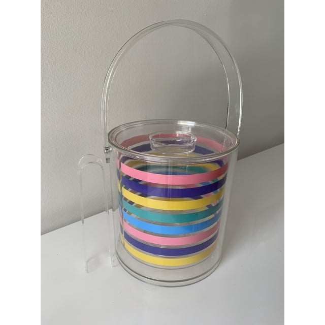 Bright and happy lucite ice bucket. Bold, crisp pastel stripes make this ice bucket the perfect addition to any summertime...