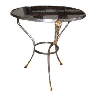 Classical Side or End Table With Marble Top and Brass Rams Feet and Head For Sale