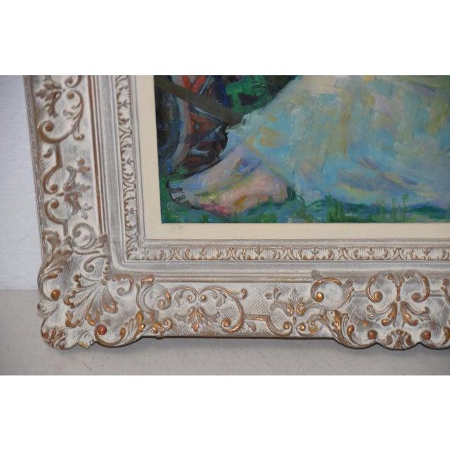 "Luigi Corbellini (1901-1968) ""The White Horse"" Original Oil Painting C.1950s For Sale - Image 4 of 10"