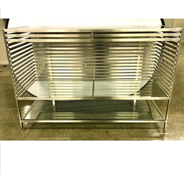 Mid-Century Modern Style Laser Cut Steel, Glass and Chrome Dry Bar For Sale - Image 9 of 13