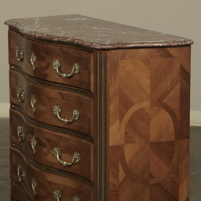 Chestnut 19th Century French Louis XIV Marble Top Commode With Marquetry For Sale - Image 8 of 11