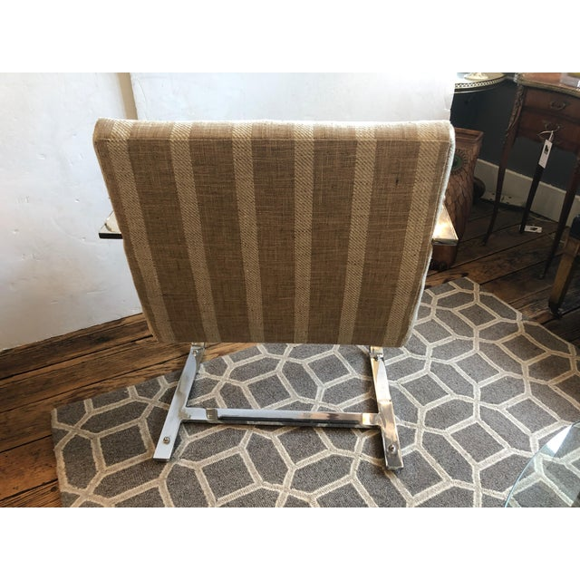 1980s Vintage Chrome & Upholstered Mid Century Modern Armchairs- A Pair For Sale - Image 4 of 11