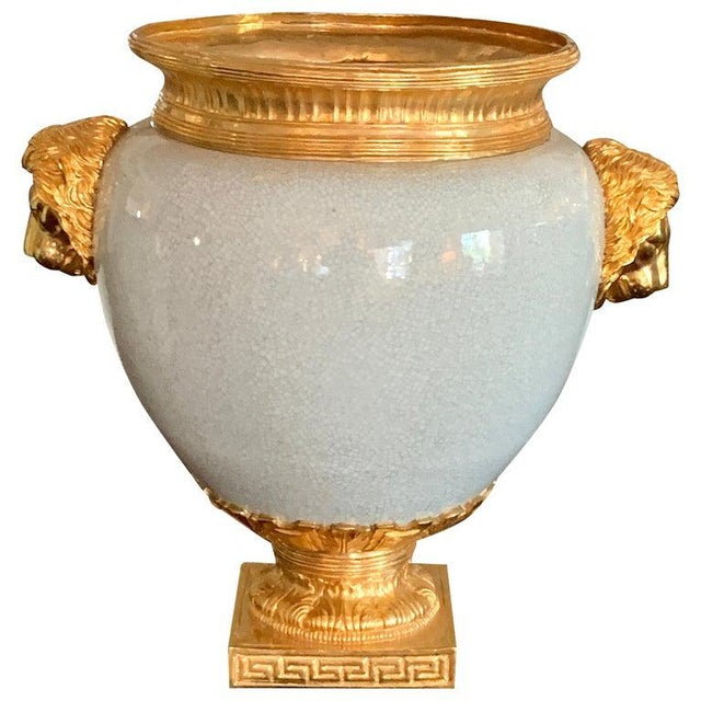 Chinese Crackle Glaze and Ormolu Lion Motif Urn For Sale - Image 9 of 9