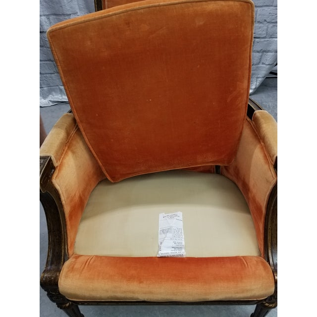 Gorgeous orange velvet Eastlake style antique chair - original upholstery. American-made and in excellent condition...