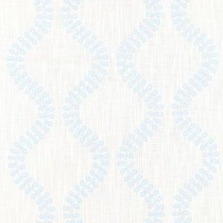 Scalamandre Foglia Embroidery Fabric in Sky Sample For Sale