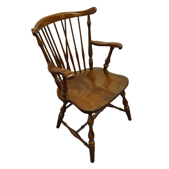 "PENNSYLVANIA HOUSE Solid Cherry Fiddleback Duxbury Windsor Dining Arm Chair 11-3108 35"" High 23"" Wide 24"" Deep Seat: 17""..."