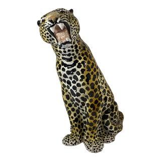 1970s Italian Ceramic Leopard Sculpture For Sale