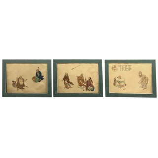 Early 20th Century Three Fine Chinese Watercolor Buddhist Paintings For Sale