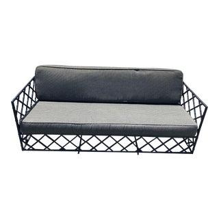Mid-Century Faux Bamboo Trellis Design Outdoor Sofa