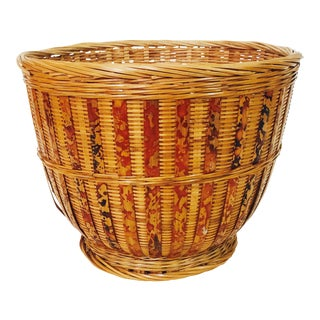 Vintage Woven Plant Basket For Sale