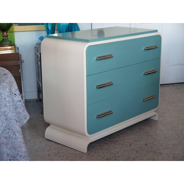 Blue 1930s Modern Donald Deskey for Valentine Seaver Co Chest For Sale - Image 8 of 11