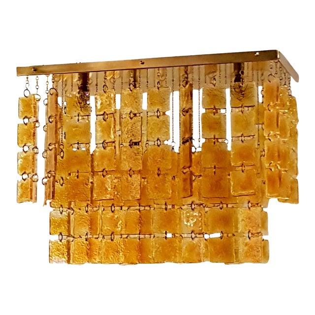 Mid Century Modern Honey/Brass Murano Glass Flush Mount Light by Sciolari For Sale
