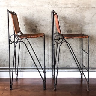 1970s Vintage Iron & Leather Brutalist Bar Stools by Ilana Goor - a Pair Preview