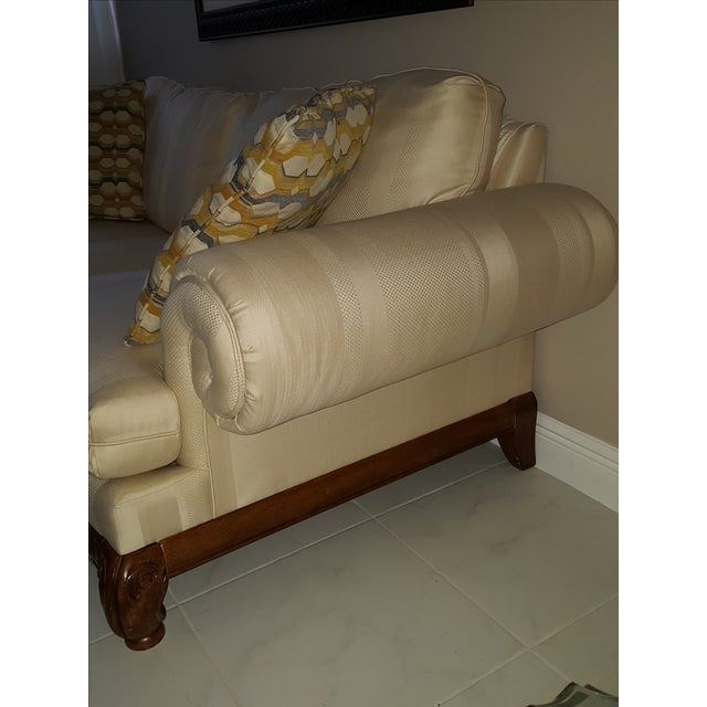 Classic Scroll Arm Ivory Sofa - Image 4 of 4