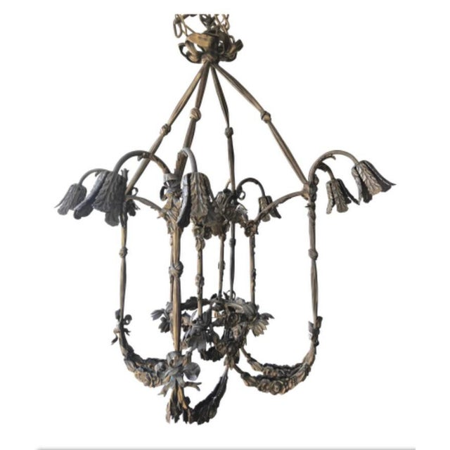 Floral Appliqué Antique French Brass Chandelier For Sale - Image 13 of 13