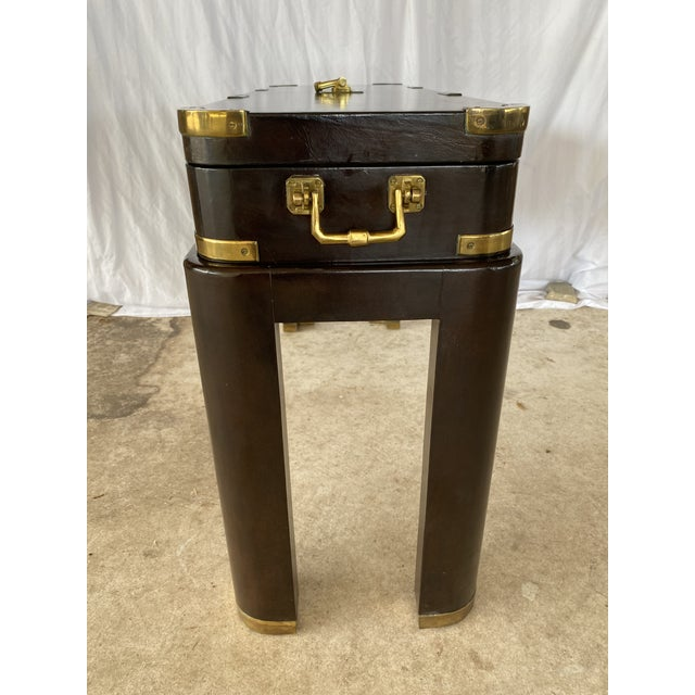 1970s Maitland-Smith Campaign Lather Wrapped - Console Table - a Pair For Sale - Image 5 of 13