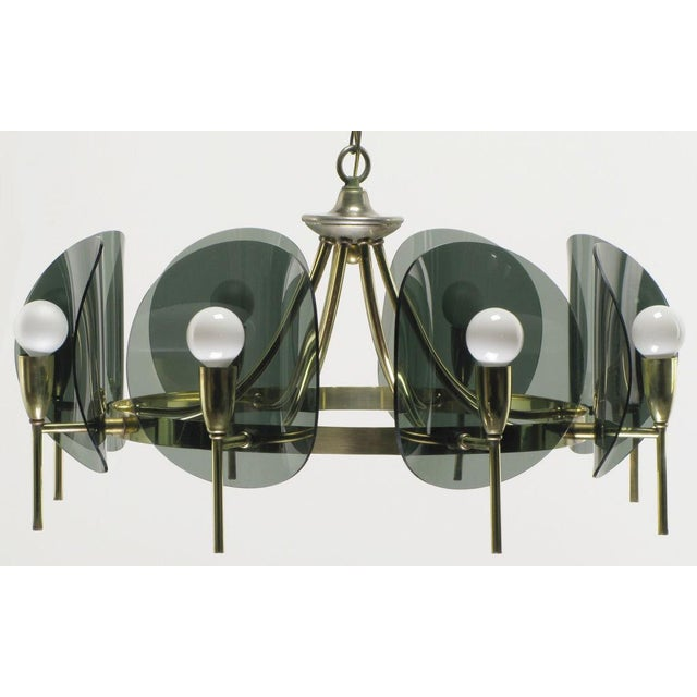 1960s Brass & Smoked Acrylic Eight Arm Chandelier For Sale - Image 5 of 7