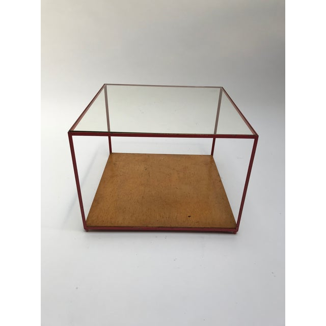 Vintage Dunbar Steel Frame Cocktail Table designed by Edward Wormley. Great vintage condition. Original red paint. Natural...