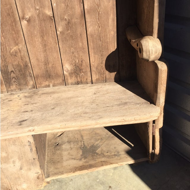 18th Century English Pine Curved Settle Bench - Image 5 of 11