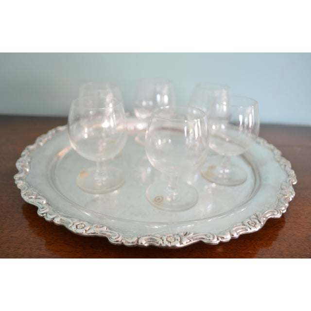 Silver Vintage Val St-Lambert Cordial Glasses & Drinks Tray, 7 Pieces For Sale - Image 8 of 10