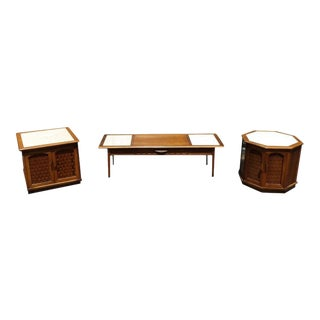 Lane Maple With Marble Insets Coffee & End Table Living Room Group - 3 Pc. Set For Sale