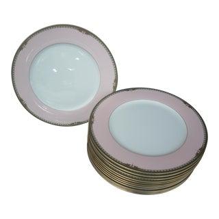 1990s Mikasa Bone China Pink & White Plates - Set of 13