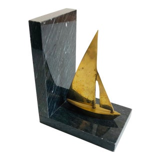 Vintage Stone and Brass Sailboat Bookend For Sale