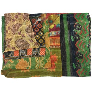 Pattern Stripes Vintage Kantha Quilt in Blues and Greens For Sale