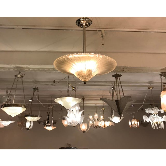French Art Deco Chandelier by G Leleu For Sale - Image 10 of 12