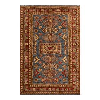 Super Kazak Garish Karima Blue/Red Wool Rug - 4'4 X 6'6