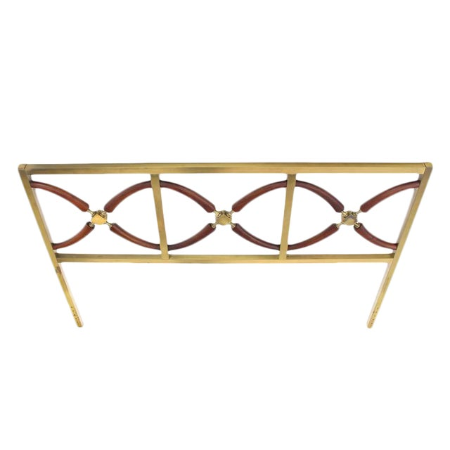 Very Brass and Walnut Queen Size Headboard Bed For Sale
