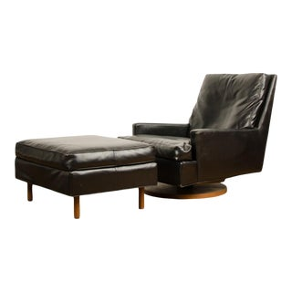 Mid-Century Black Leather Reclining Lounge Chair with Ottoman Designed by Milo Baughman for James Inc Articulate Seating For Sale